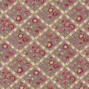 Moda - Jardin de Versailles, French General - 5898 -  Red Floral on Plum - 13812 14 - Cotton Fabric